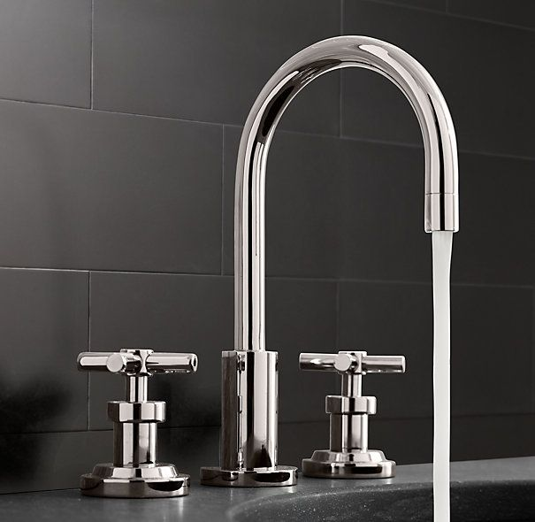 Clean industrial faucet. Oiled brass finish Possibly wall mounted ...