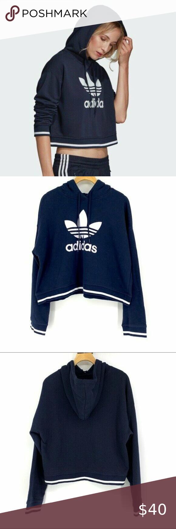 Adidas Navy Logo Cropped Hoodie Sweatshirt Large Crop Sweatshirt Hoodie Sweatshirts Hoodie Sweatshirts [ 1740 x 580 Pixel ]
