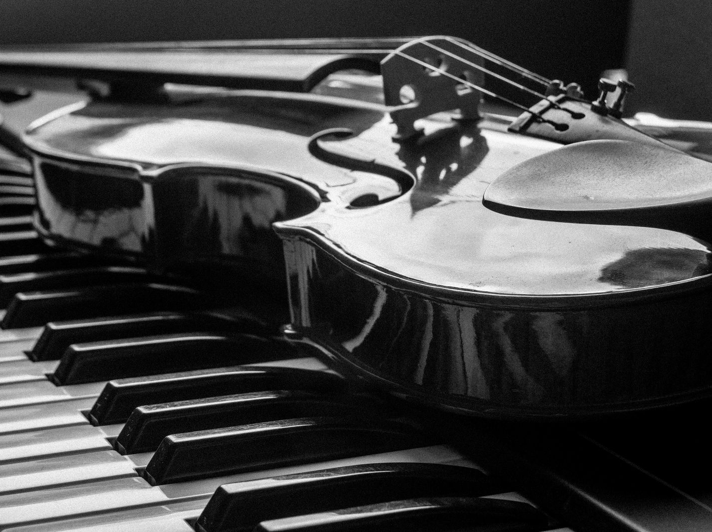 piano and violin black and white photography magic sounds