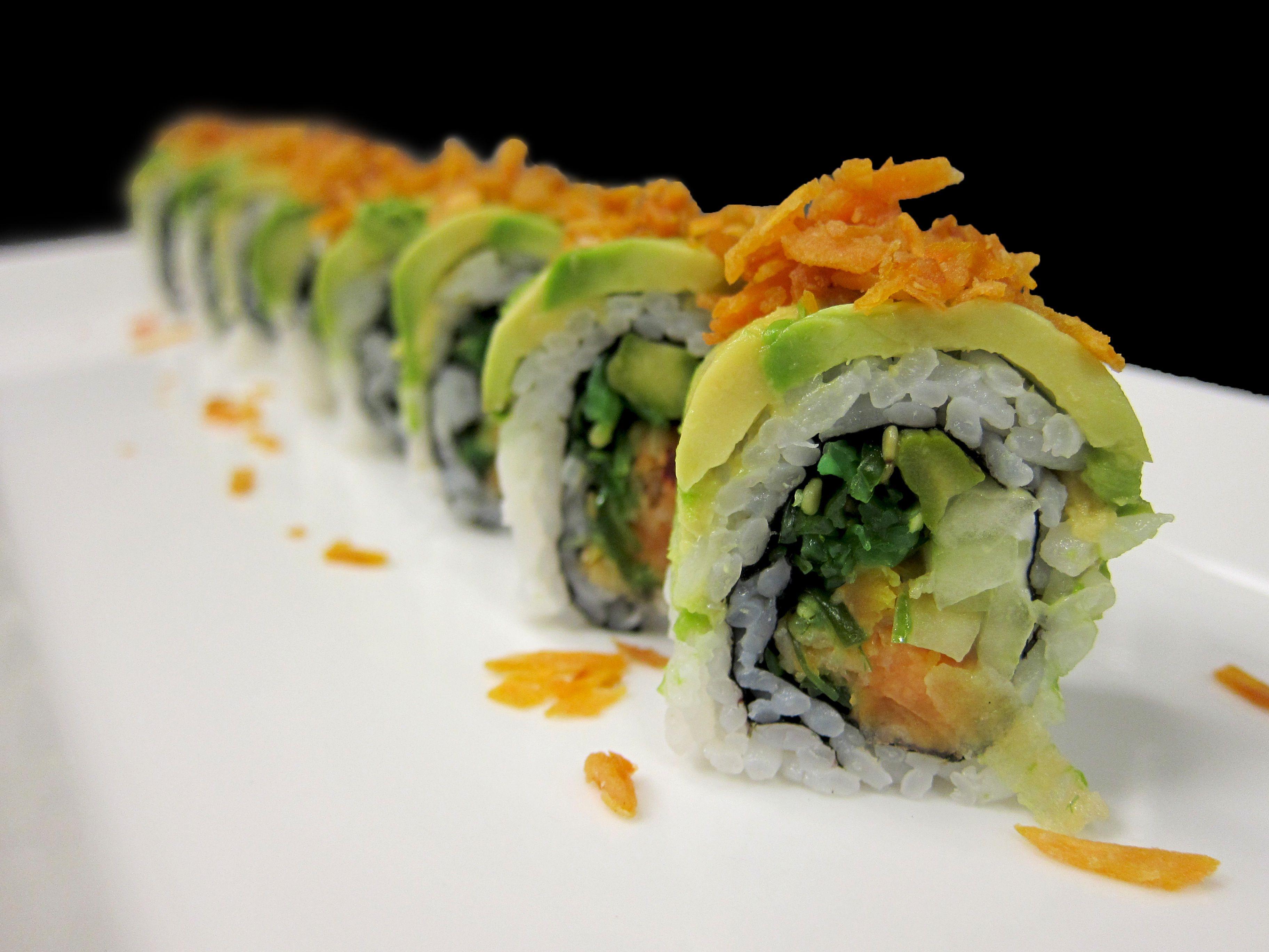 Mango Tango Roll- Mango, tempura sweet potato, asparagus, cucumber ...