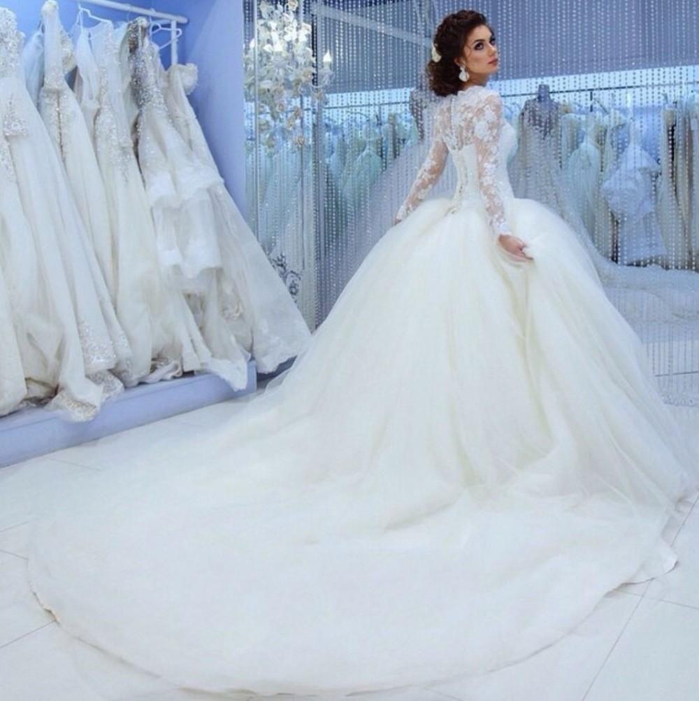 2016 Arabic Hot A Line Wedding Dresses Jewel Neck Long Sleeves Lace ...