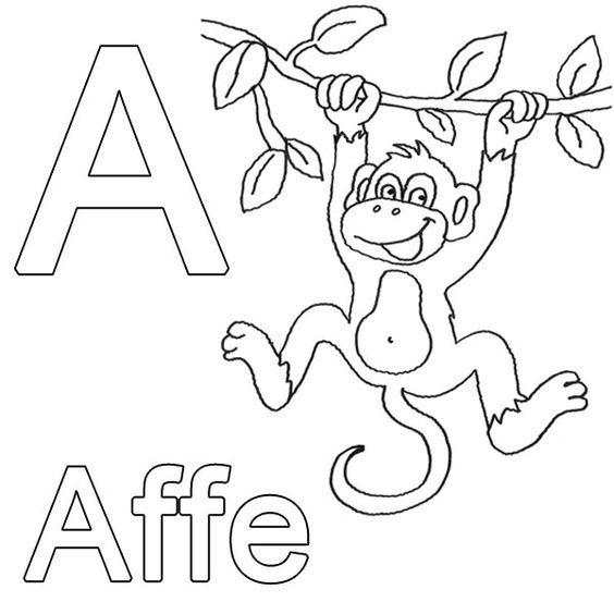 Ausmalbild Buchstaben lernen Kostenlose Malvorlage A wie Affe