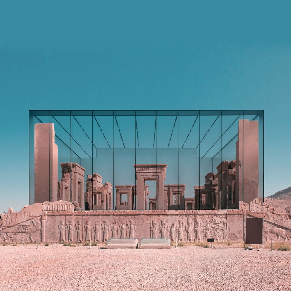 Architect Mohammad Hassan Forouzanfar Has Created Photomontages That Combine Archaeological Sites In Ir Contemporary Building Architecture Ancient Architecture