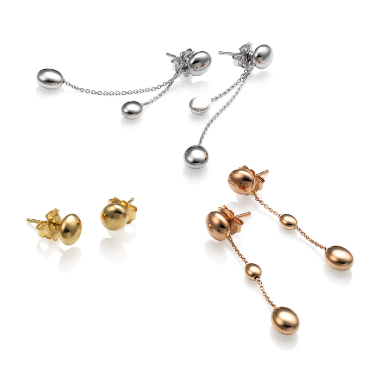 CHIMENTO Armillas Acqua earrings in yellow, white and rose gold.