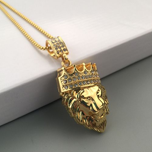 New arrival mens fashion crown lion head pendant necklace luxury new arrival mens fashion crown lion head pendant necklace luxury collar jewelry aloadofball Image collections