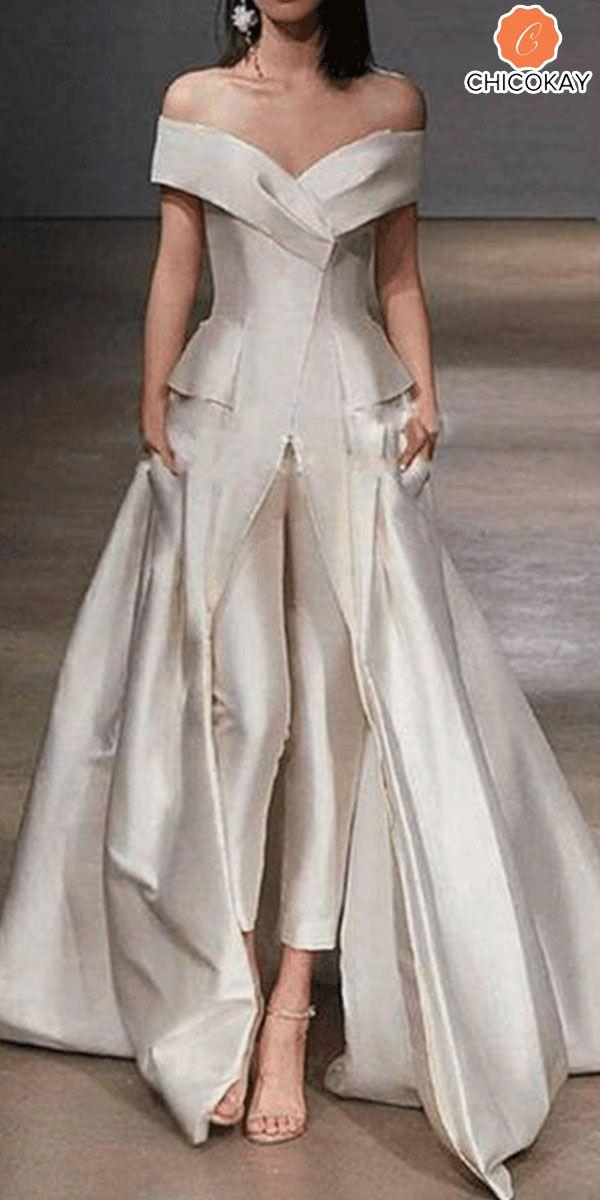 Kauf authentisch neue bilder von Neuankömmling Sexy off-the-shoulder folds solid color evening dress #white ...