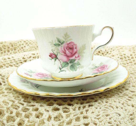 Set of Footed Floral Tea Cup and  Saucer Porcelain Pink Roses Gold Trim Teacup