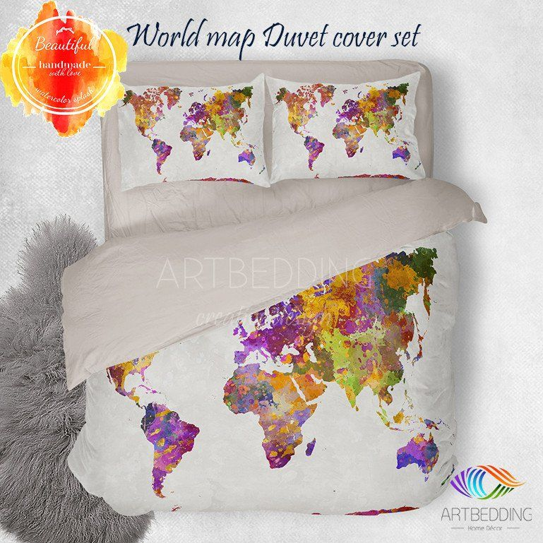 Vintage watercolor world map bedding watercolor boho map duvet bohemian bedding boho spirit duvet bedding set mandala duvet cover set gumiabroncs Choice Image