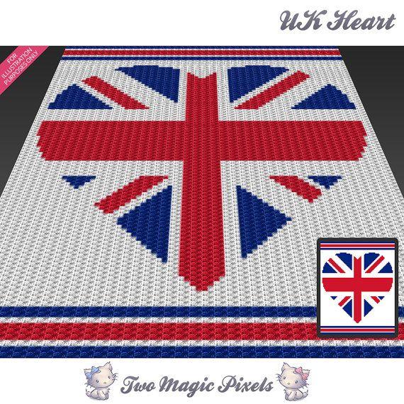 UK Heart c2c graph crochet pattern; instant PDF download; baby ...