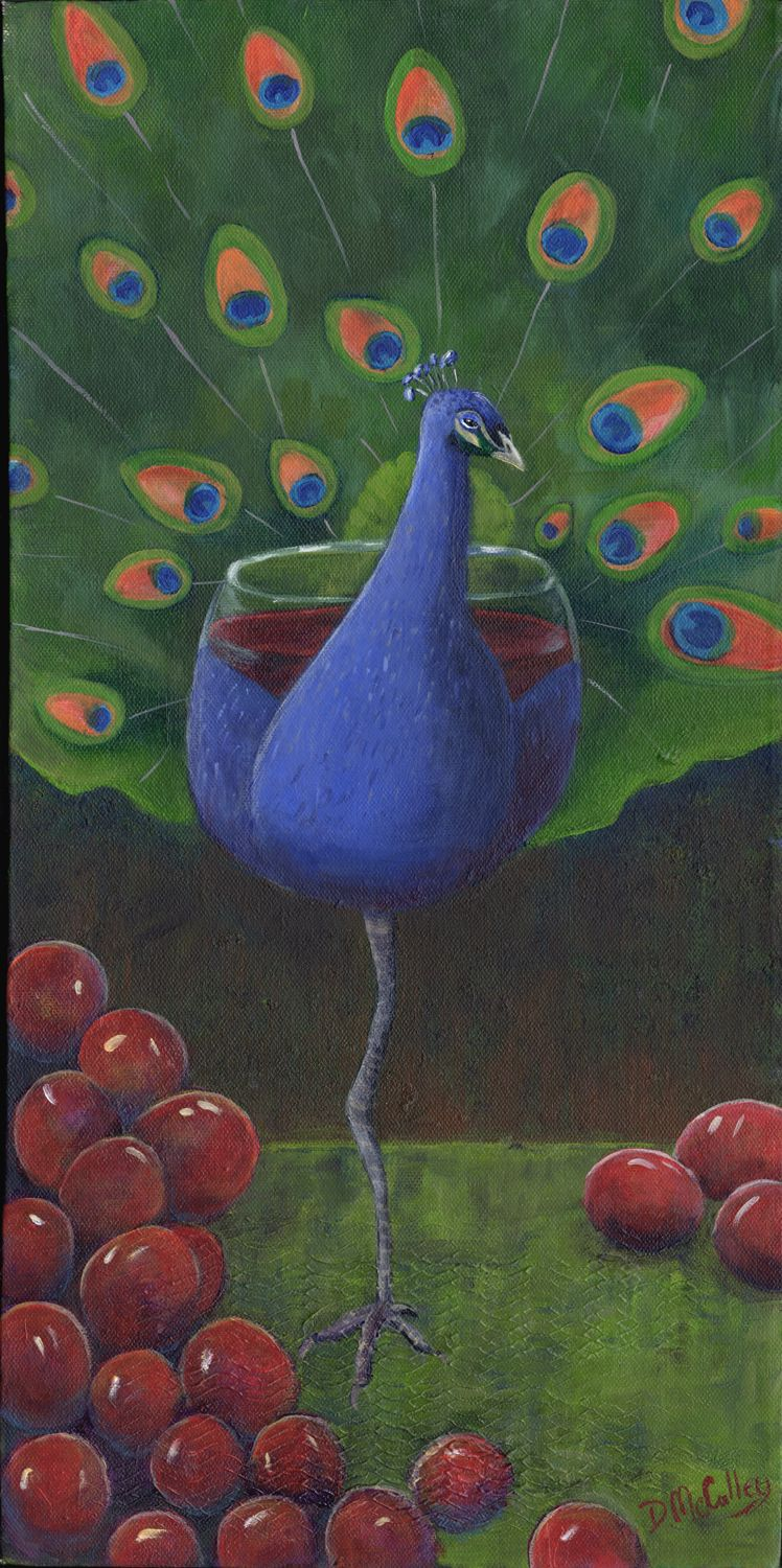 """""""Peacock Pinot"""" is on in a series of 6 images from my Metamorphosis, From Animal To Wine series. www.debbiemcculley.com"""