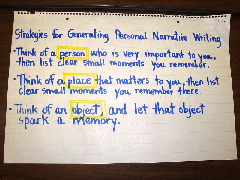Personal Narrative -- generating ideas to record in writer's notebook