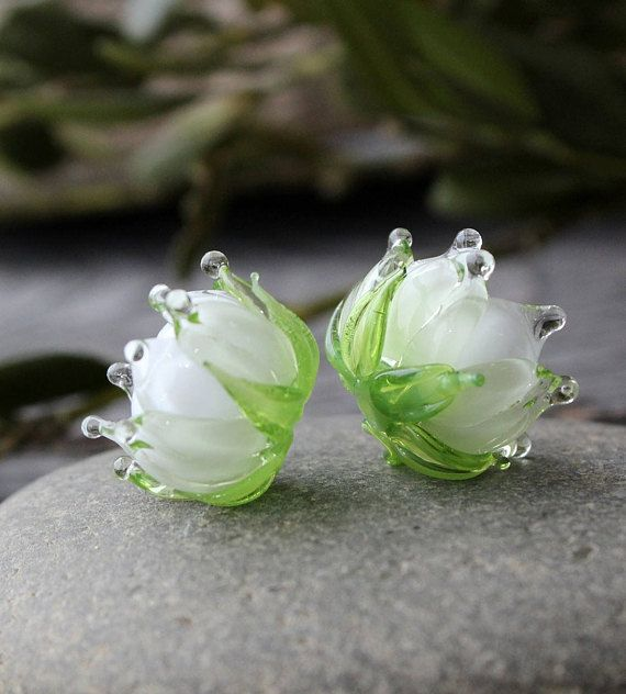 1pc Blue lily of the valley beads Handmade flower floral lampwork murano glass buds beads