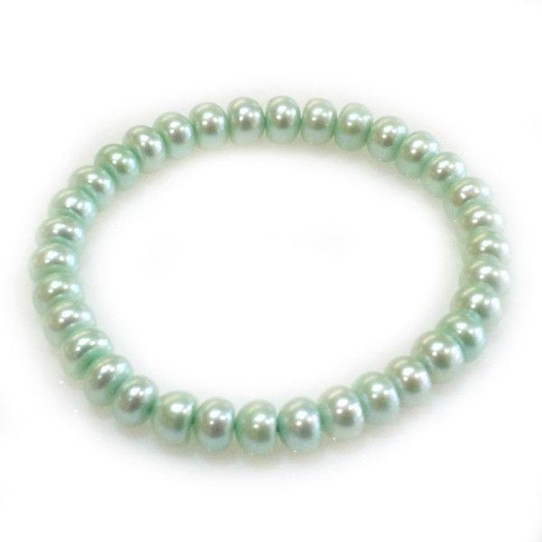 "Honora Bridal Bouquet ""Mint Green"" Color 7-8mm Rondel Pearl Stretch Bracelet"