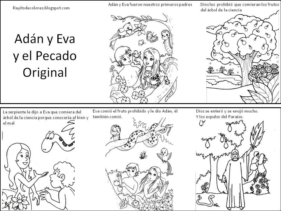 Super Adán y Eva y el pecado original para colorear | religion  AU13