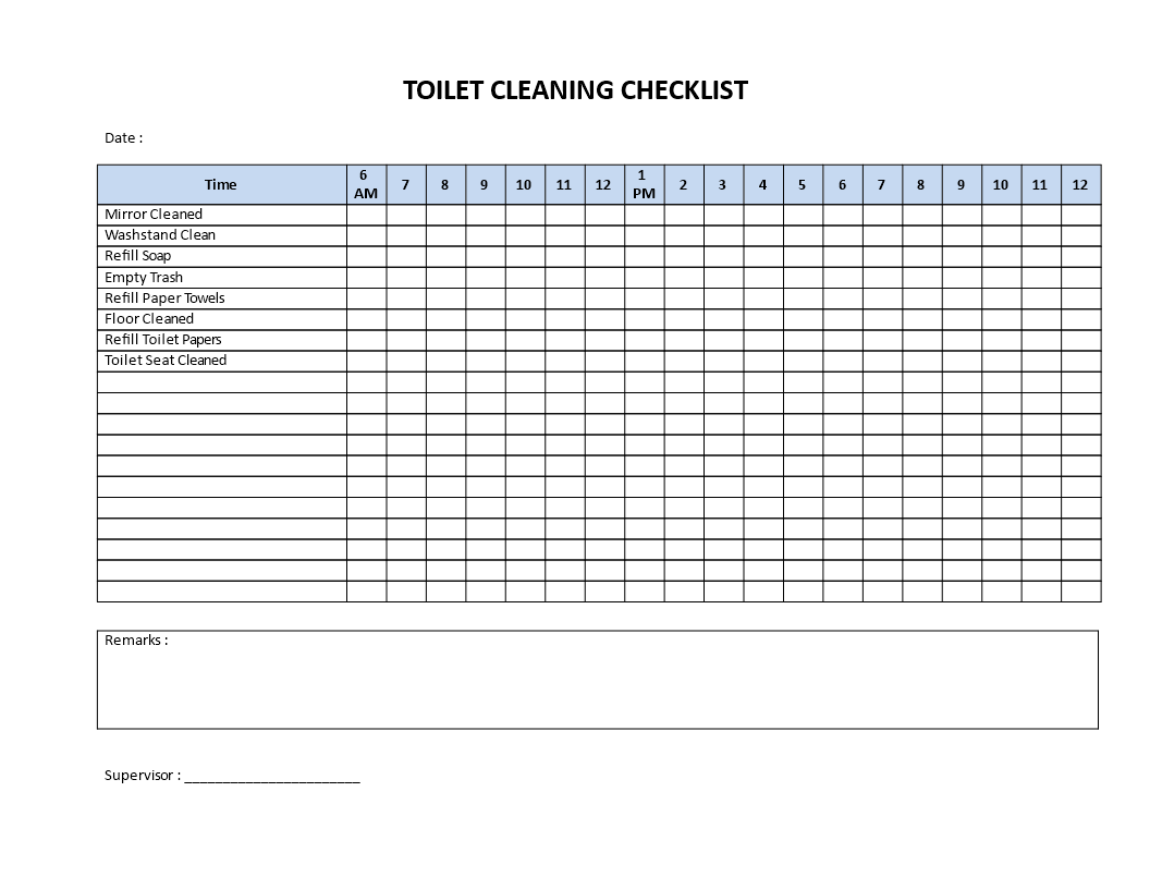 Schoonmaakschema Excel Toilet Cleaning Checklist Download This Printable Toilet