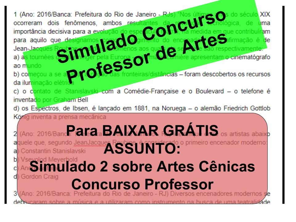 Descricao As Questoes Sao Para Concurso De Professor De Artes O