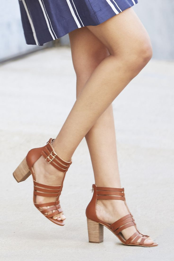 Brown leather gladiator sandals with comfortable stacked heels  Sole  Society Elise