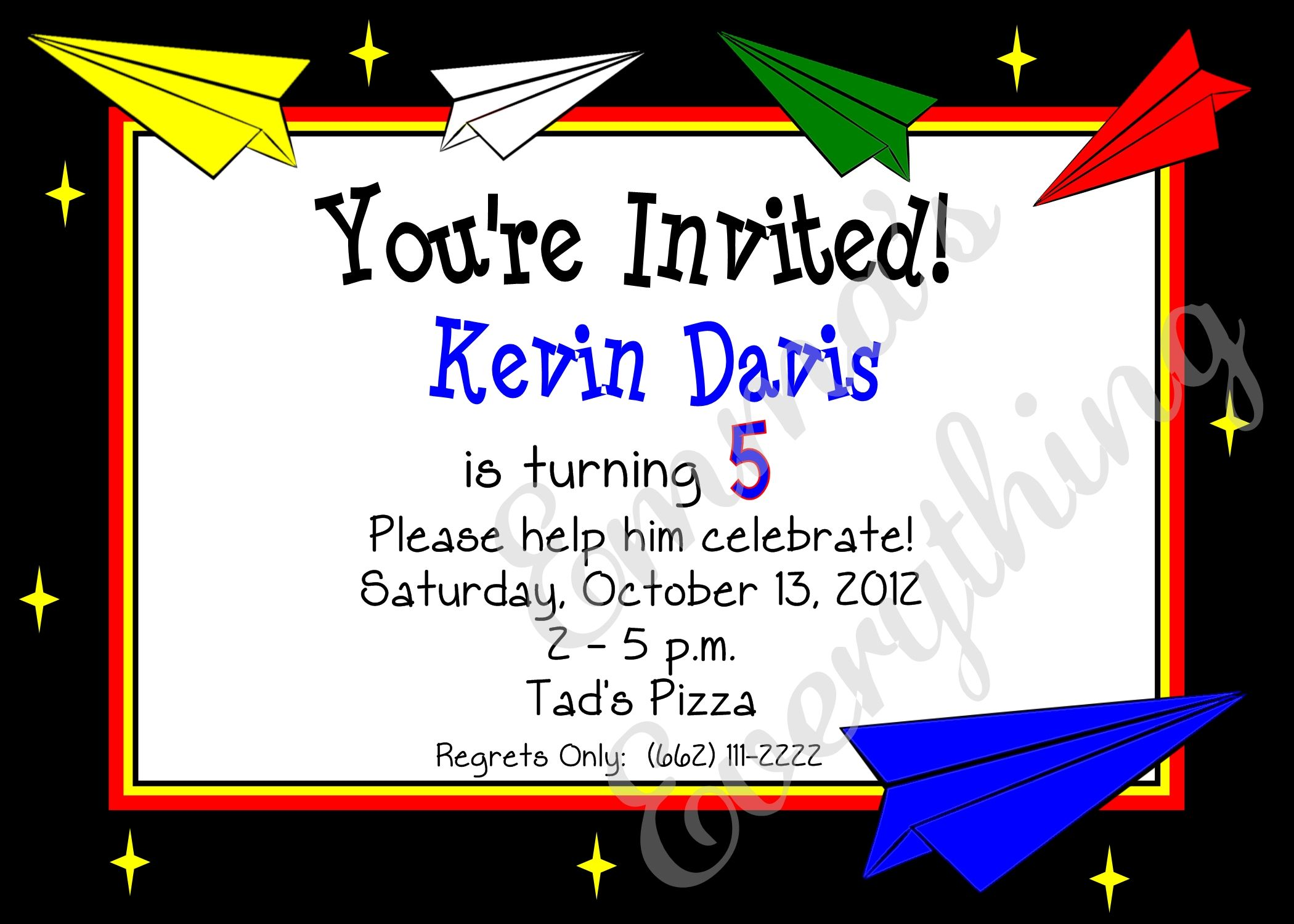 Paper Airplanes Birthday Invitations