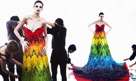 Stunning, colourful dress made from 50,000 Gummy Bears