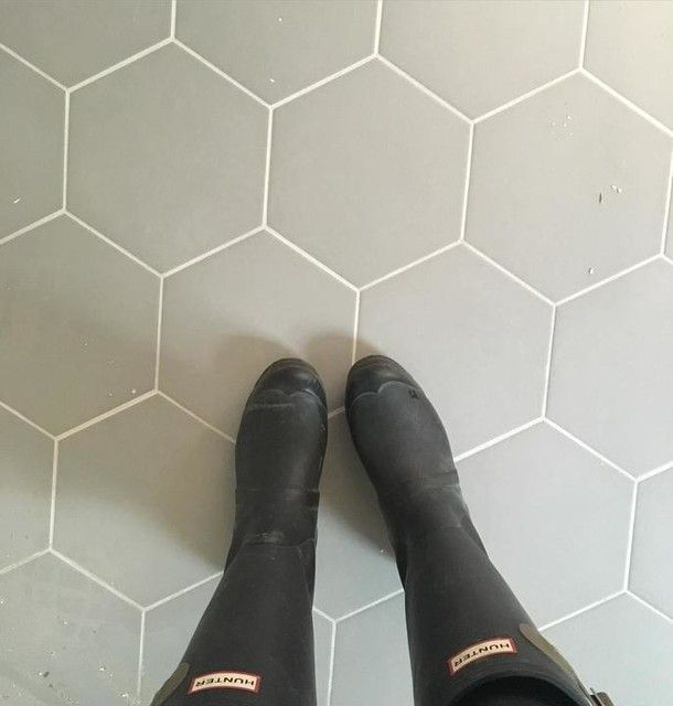 Silver Hex Porcelain Floor Tile 10 In The Tile Shop Flooring Grey Bathroom Tiles Tile Bathroom