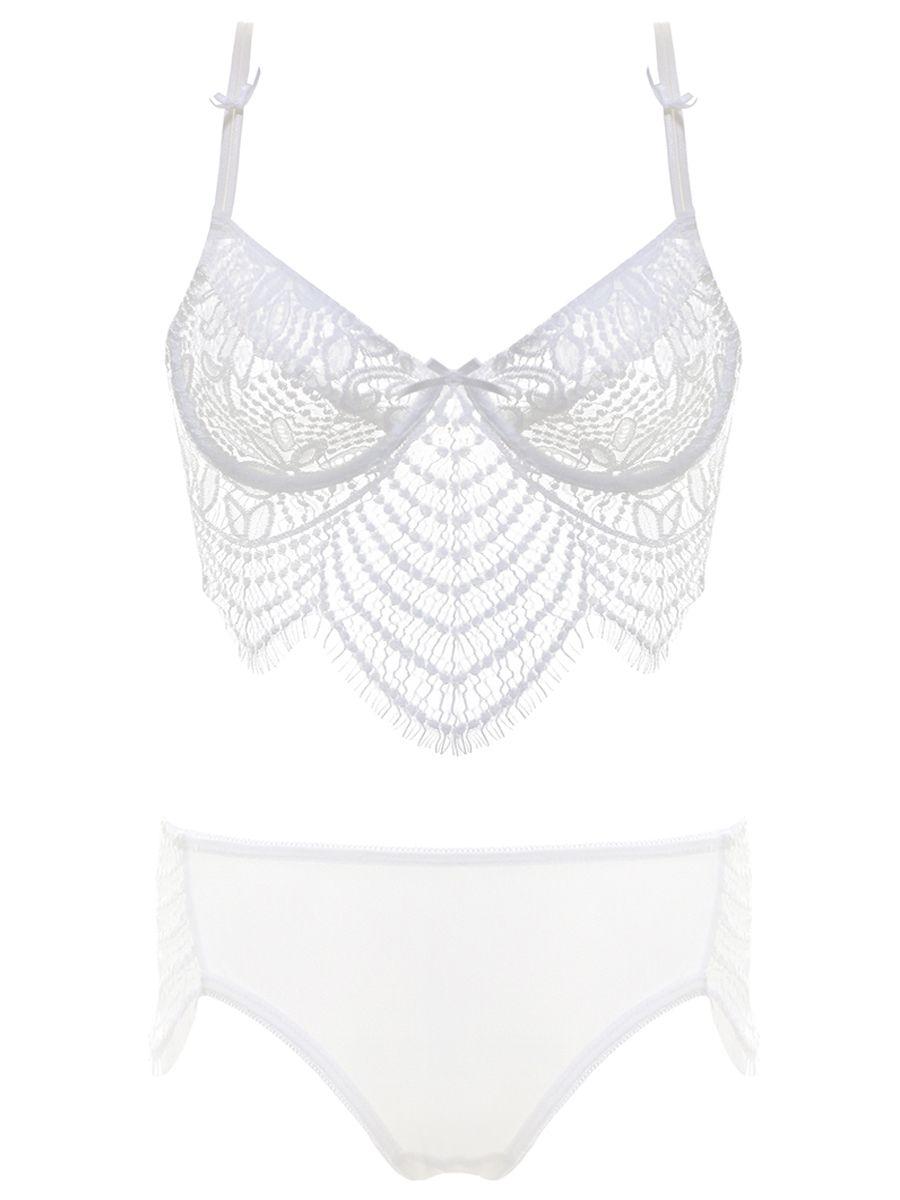 f35e63a7d9e Burvogue Womens Sheer Lace Underwear Embroidery Bra Sets Lingerie ...