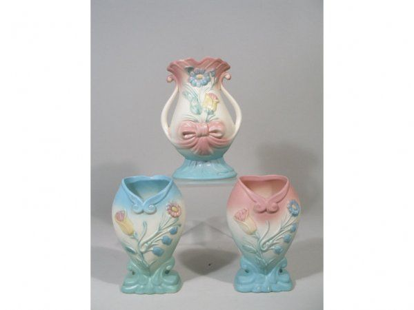 Hull Pottery Bowknot Vases-the 2 in front show how there was a color reversal on the same vases