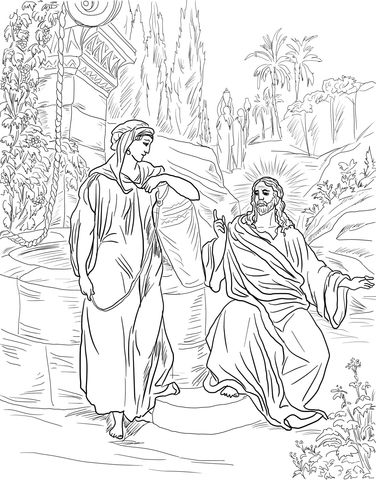 Jesus And The Samaritan Woman At The Well Coloring Page Bible