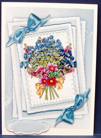 Pretty mixed floral Bouquet with bows on lace on Craftsuprint designed by Nick Bowley - made by Cheryl French - Printed onto glossy photo paper. Attached base image to card stock using ds tape. Built up image with 1mm foam pads. Left text plate blank for later. - Now available for download!