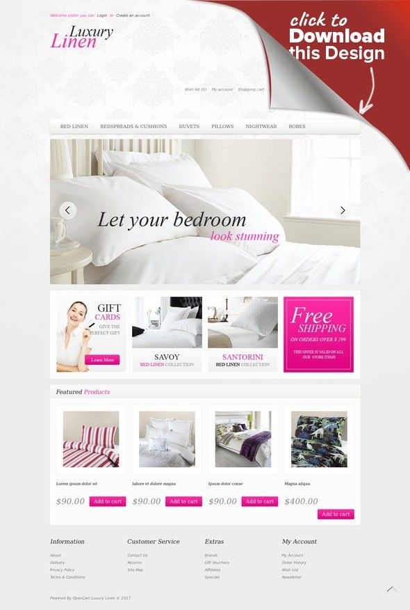 Luxury Linen OpenCart Template E-commerce Templates, OpenCart ...