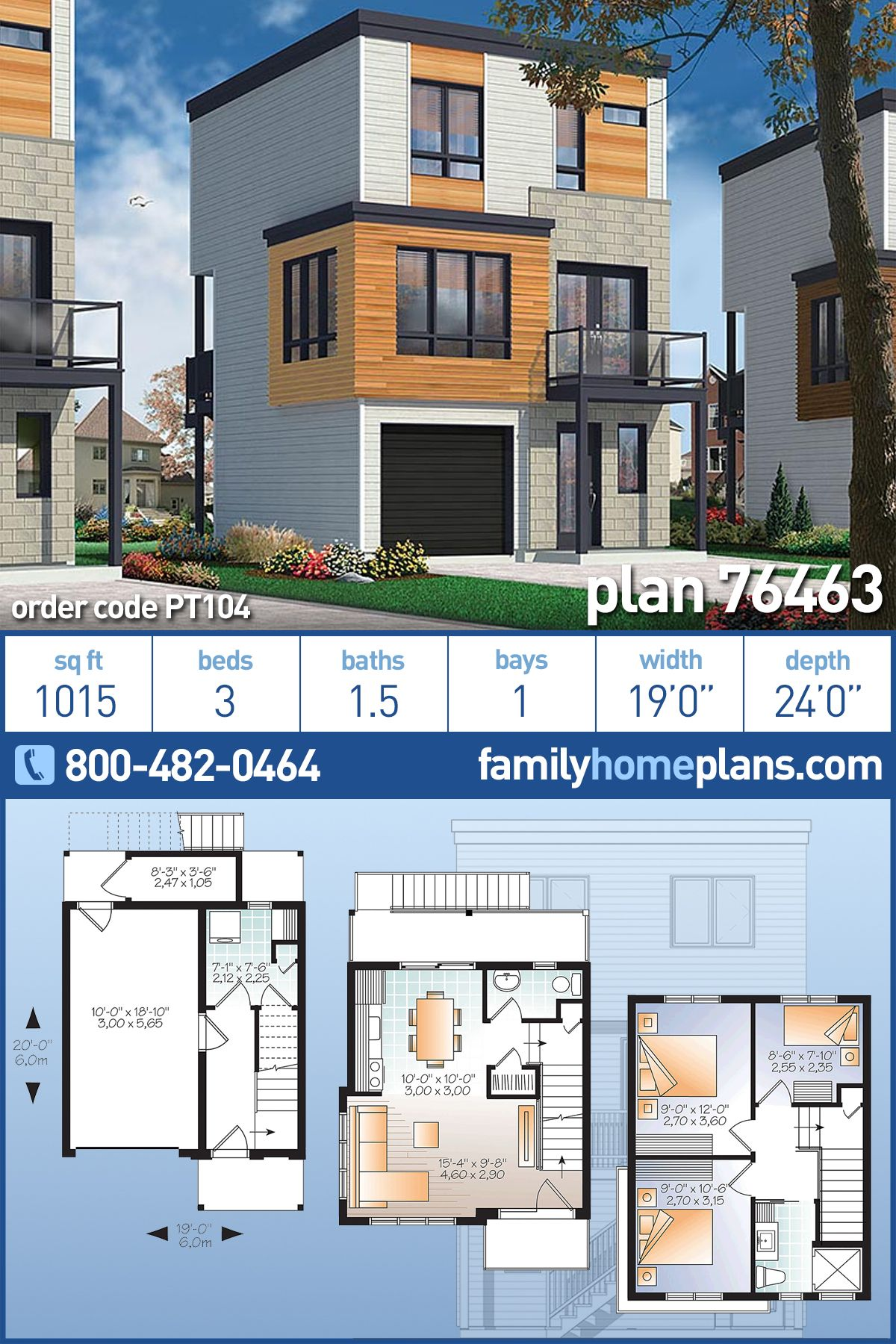 Modern Style House Plan 76463 With 3 Bed 2 Bath 1 Car Garage In