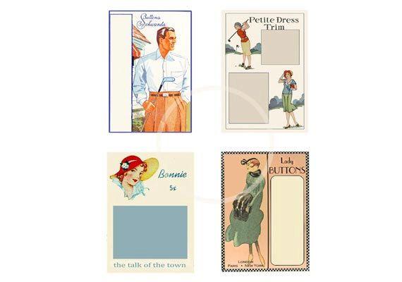 Vintage Button Cards Digital Download Printable PDF by sssstudio, $3.00