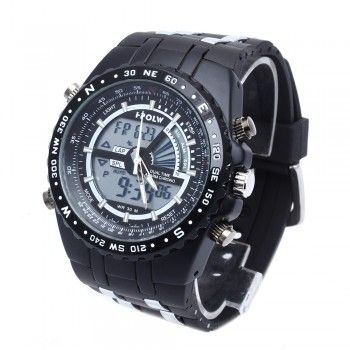 [$15.39] Silicone Band Wrist Watch Sports Men