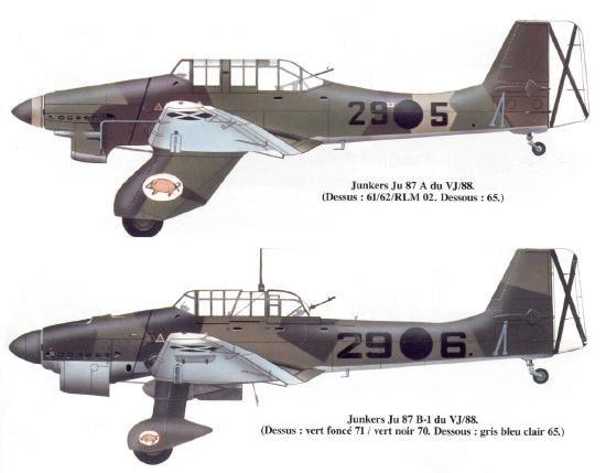 Junkers JU-87A 29-5 y Junkers JU-87B 29-6 de la Legión Cóndor