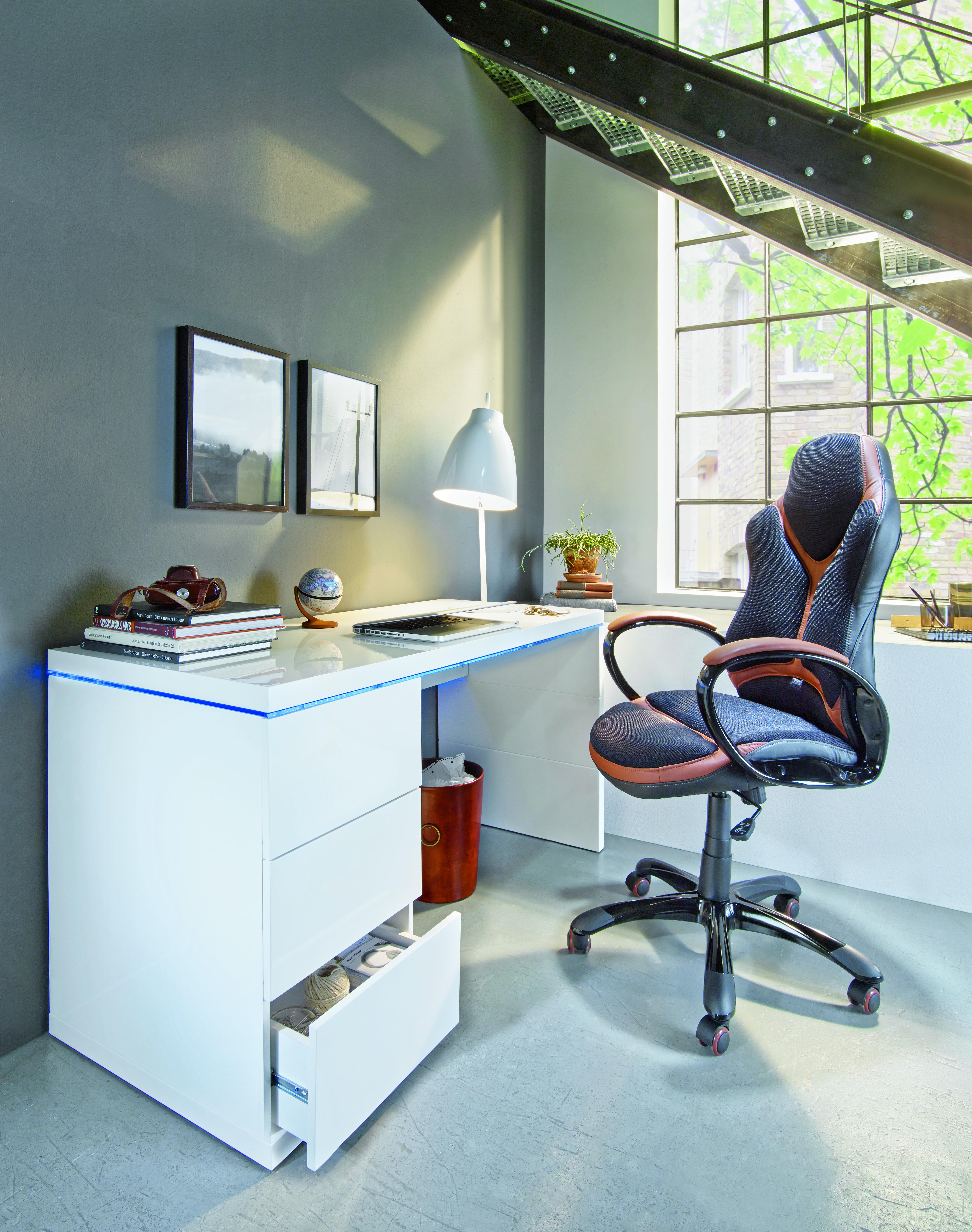 Eleganter Schreibtisch Mit Beleuchtung Schreibtisch Mit Schubladen Schreibtisch Weiss