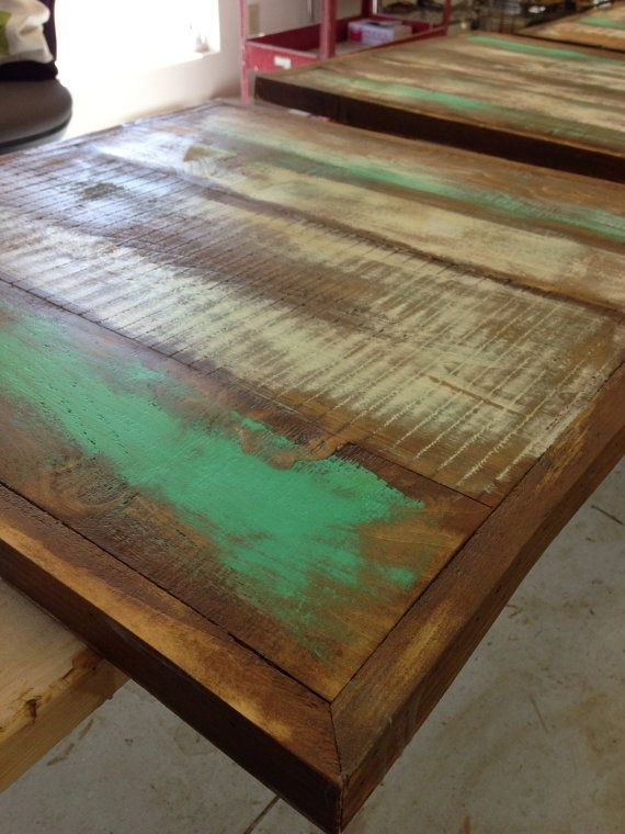 Popular Pub table top reclaimed wood tap room table dining table top turquoise 30 Top Search - Contemporary refurbished wood table Unique