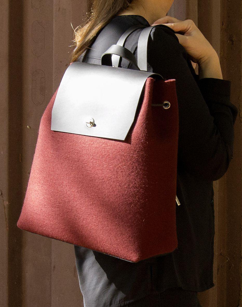 Felt and leather BACKPACK   women s backpack   felt backpack   red ... 69722bf804352