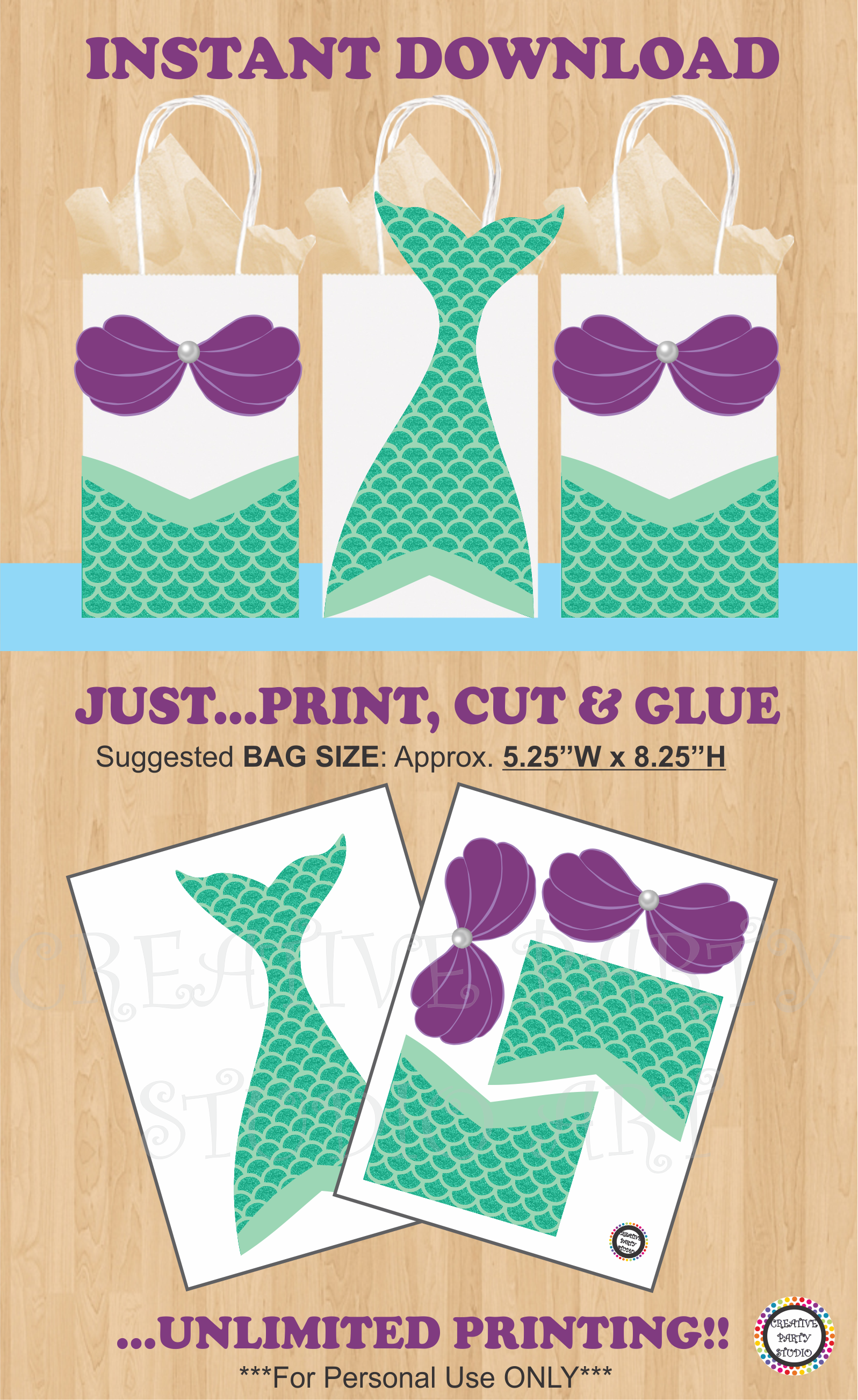 Printable Mermaid Party Favor Bags Mermaid Birthday Party Ideas