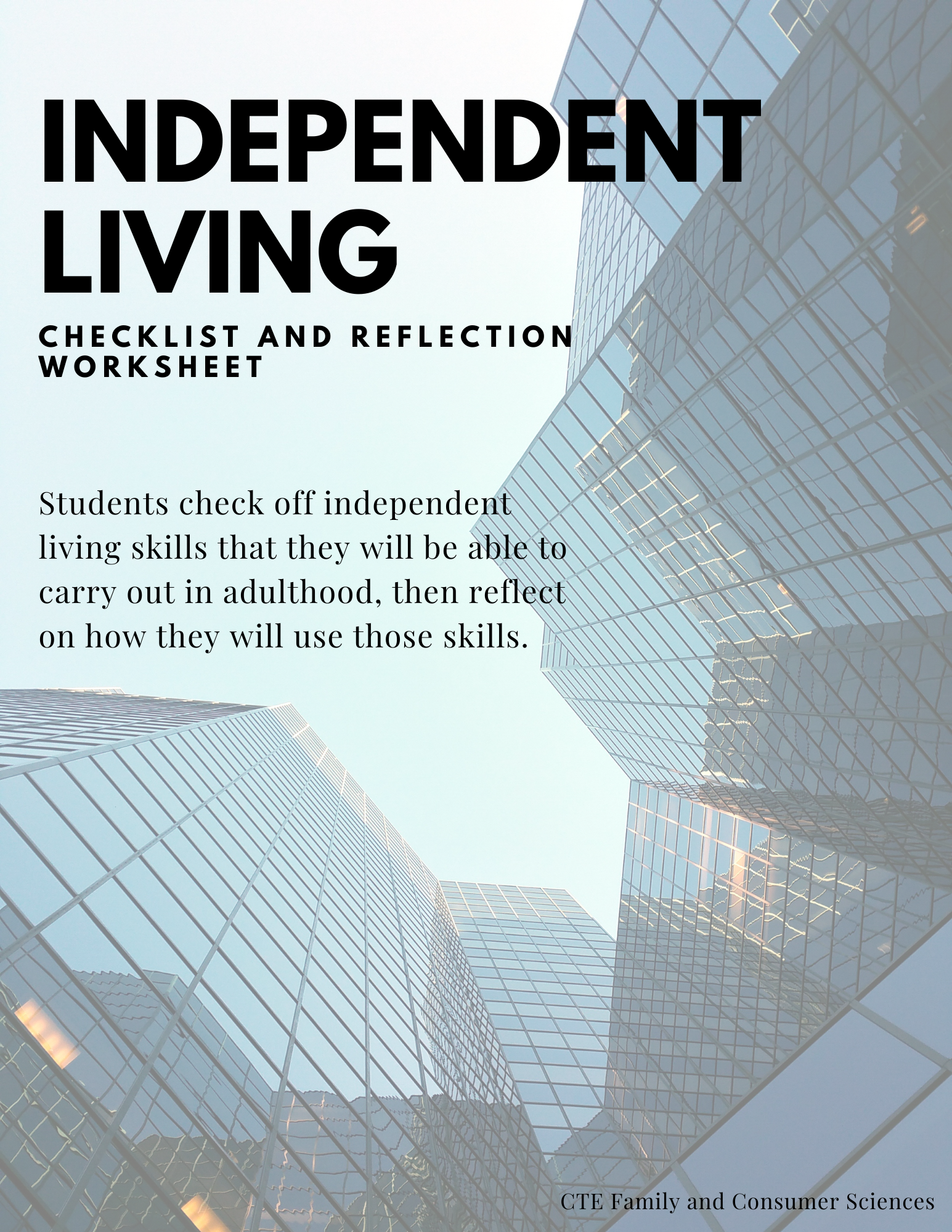Independent Living Checklist And Reflection Worksheet In