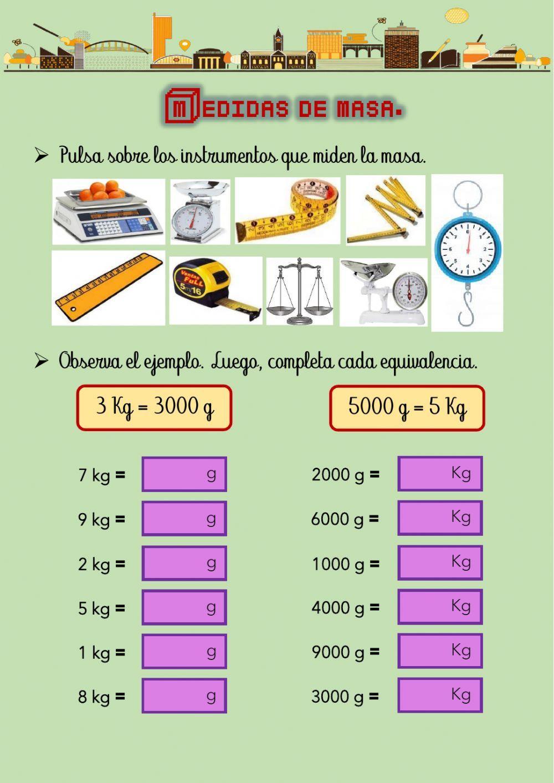 Medidas De Masa Ficha Interactiva Unidades De Masa Fichas De Matematicas Unidades De Medida
