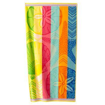 Sonoma Goods For Life Rainbow Shells Beach Towel Colorful Beach