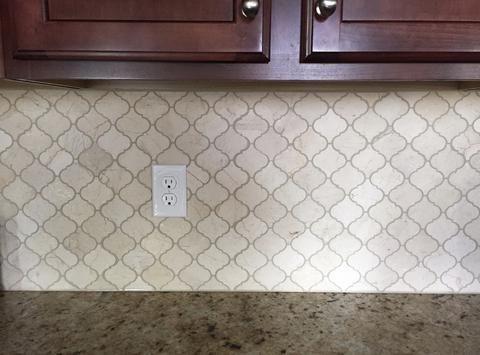 Crema Marfil Arabesque Lantern Backsplash Tile Marble Subway Tiles Kitchen