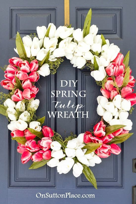 Ideas : Make this easy, DIY Spring Tulip Wreath for your front door. Tulips can be found at any craft store in a wide selection of colors to match your own decor.