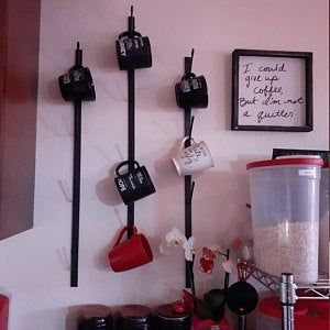 Round 3-Tier Wall Mounted Mug Rack - Metal Storage Display Organizer For Coffee Mugs, Tea Cups, Mason Jars, and More.