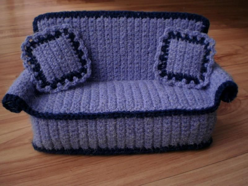 Knitting Patterns For Dolls Bedding : Crocheted doll sofa with pillows from Crochetdollfurniture by DaWanda.com  ...