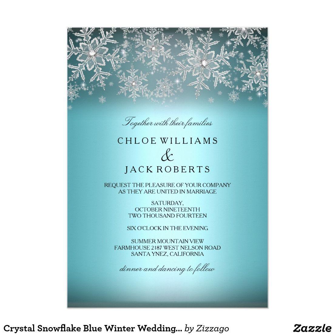 Winter Wedding Invitations Cheap: Crystal Snowflake Blue Winter Wedding Invitation