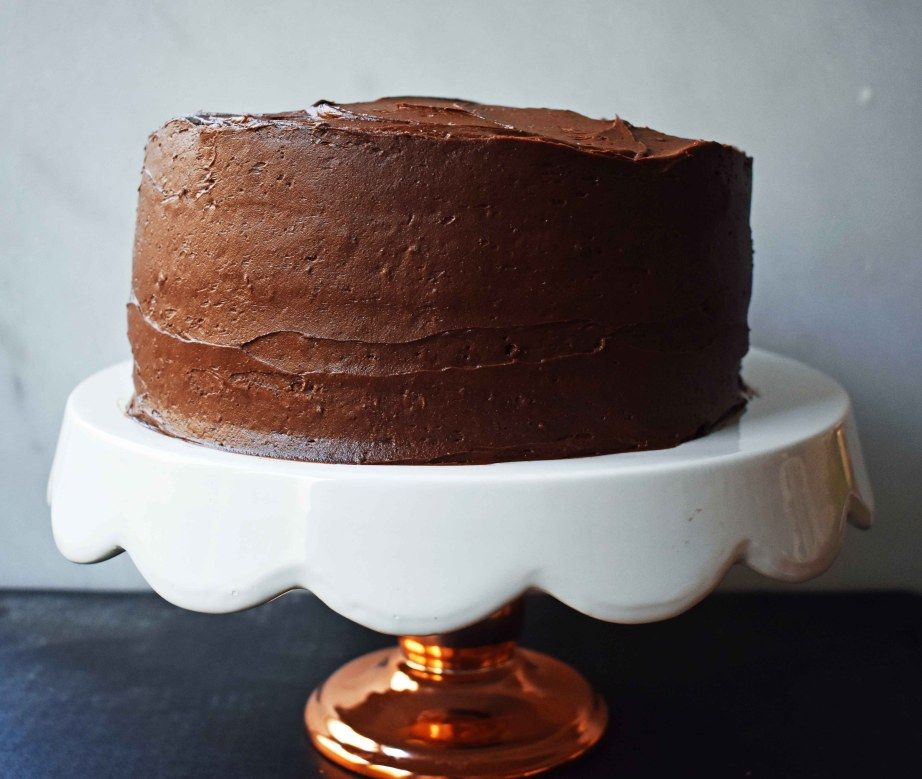 Yellow Birthday Cake With Milk Chocolate Frosting Is Homemade And