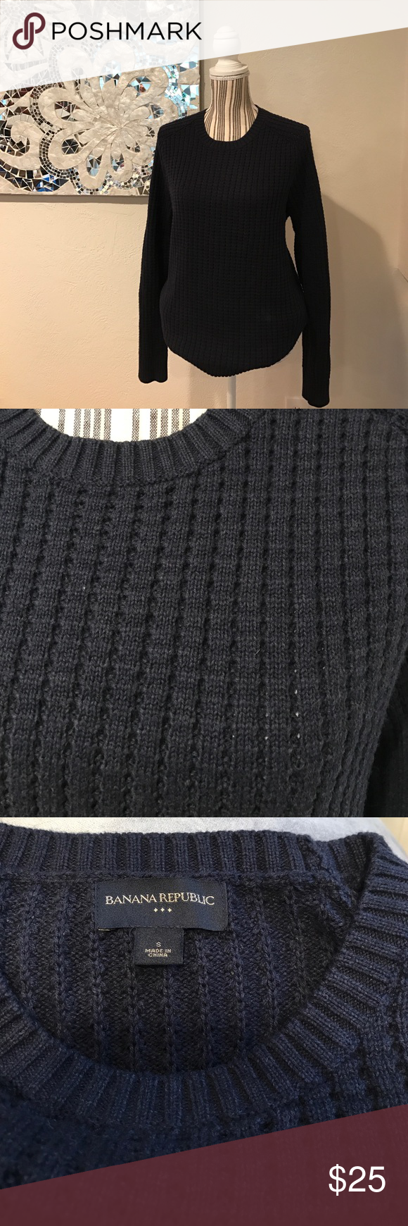 Navy blue banana republic men's sweater Like new men's banana republic sweater. Would look very nice with a button down underneath and a pair of jeans. Great date night sweater! This has only been worn one time. Banana Republic Sweaters Crewneck