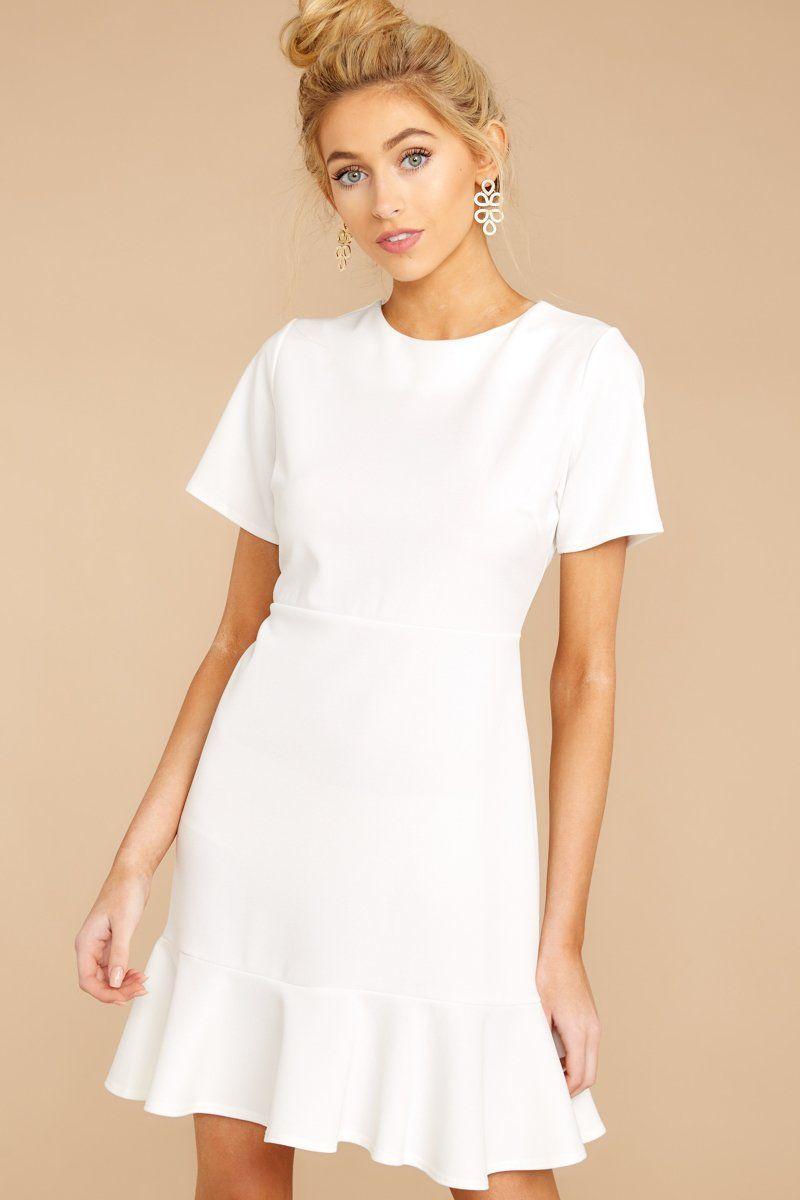 Classic White Short Sleeve Dress Flowy Ruffled Dress Dress 32 Red Dress Boutique White Short Dress White Short Sleeve Dress Flowy Ruffle Dress