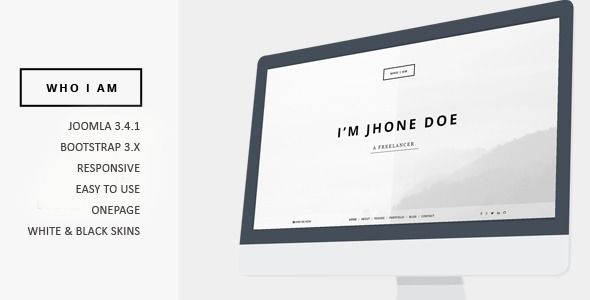 who i am resume and portfolio joomla template - Resume Cv Joomla Template