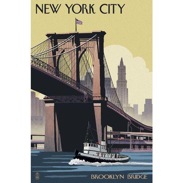 McGaw Graphics \'New York City - Brooklyn Bridge\' Vintage... ($20 ...